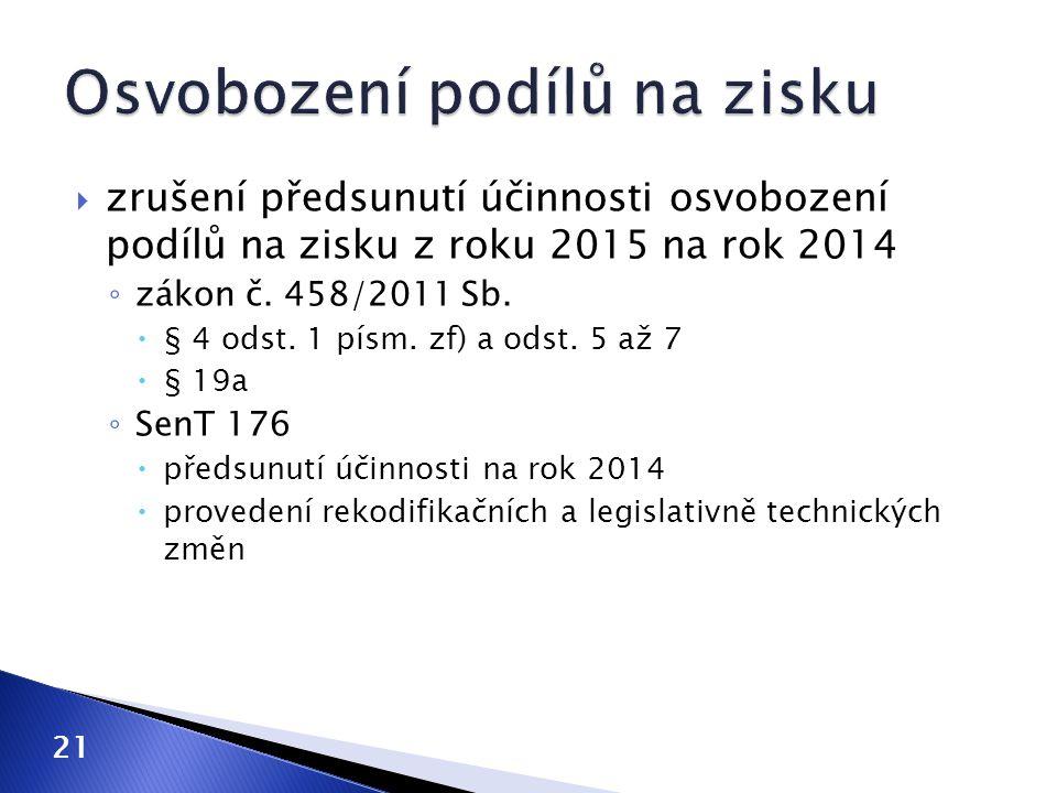  zrušení předsunutí účinnosti osvobození podílů na zisku z roku 2015 na rok 2014 ◦ zákon č. 458/2011 Sb.  § 4 odst. 1 písm. zf) a odst. 5 až 7  § 1