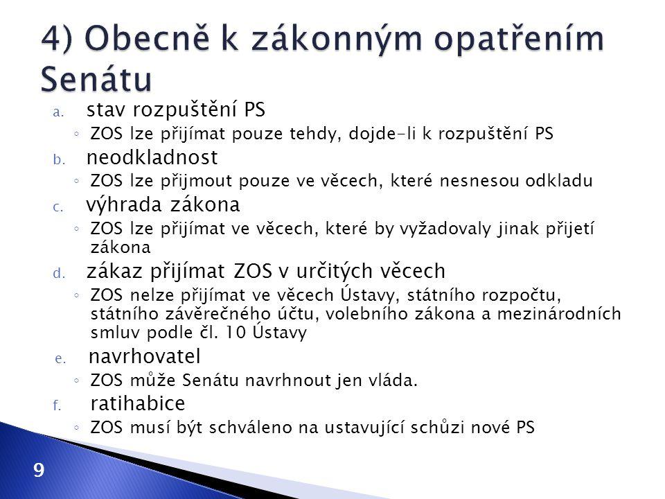 a. stav rozpuštění PS ◦ ZOS lze přijímat pouze tehdy, dojde-li k rozpuštění PS b. neodkladnost ◦ ZOS lze přijmout pouze ve věcech, které nesnesou odkl