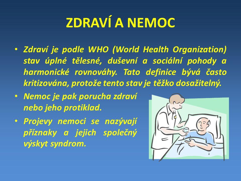 ZDRAVÍ A NEMOC Zdraví je podle WHO (World Health Organization) stav úplné tělesné, duševní a sociální pohody a harmonické rovnováhy.
