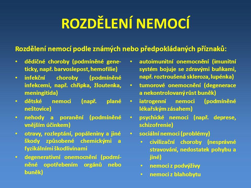Rozdělení nemocí podle známých nebo předpokládaných příznaků: ROZDĚLENÍ NEMOCÍ dědičné choroby (podmíněné gene- ticky, např. barvoslepost, hemofilie)