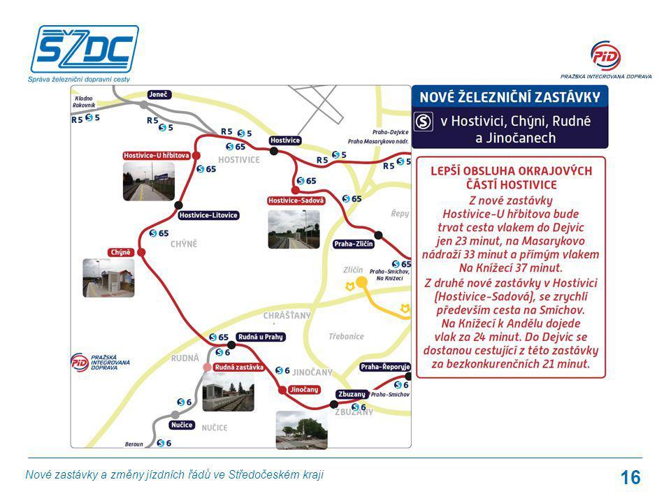 16 Nové zastávky a změny jízdních řádů ve Středočeském kraji