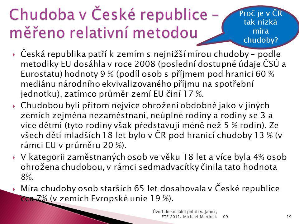  Česká republika patří k zemím s nejnižší mírou chudoby – podle metodiky EU dosáhla v roce 2008 (poslední dostupné údaje ČSÚ a Eurostatu) hodnoty 9 % (podíl osob s příjmem pod hranici 60 % mediánu národního ekvivalizovaného příjmu na spotřební jednotku), zatímco průměr zemí EU činí 17 %.