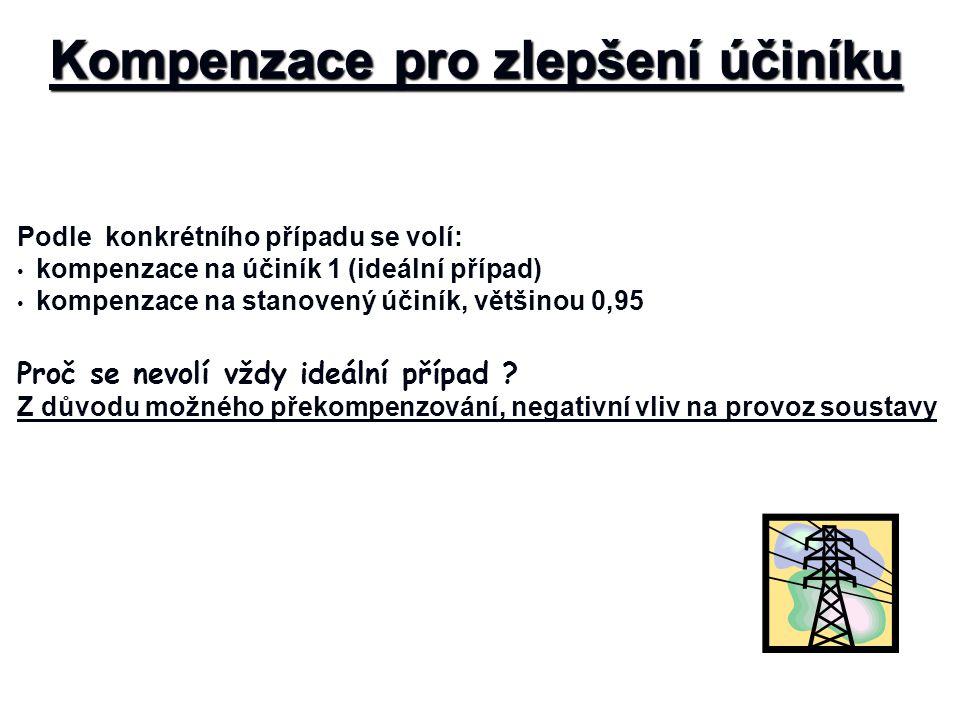Kompenzace pro zlepšení účiníku Podle konkrétního případu se volí: kompenzace na účiník 1 (ideální případ) kompenzace na stanovený účiník, většinou 0,