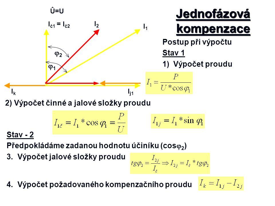 Jednofázová kompenzace Postup při výpočtu Stav 1 1)Výpočet proudu Û=U I j1 Ič1Ič1 I1I1 IkIk I2I2 = I č2 11 22 2) Výpočet činné a jalové složky pro