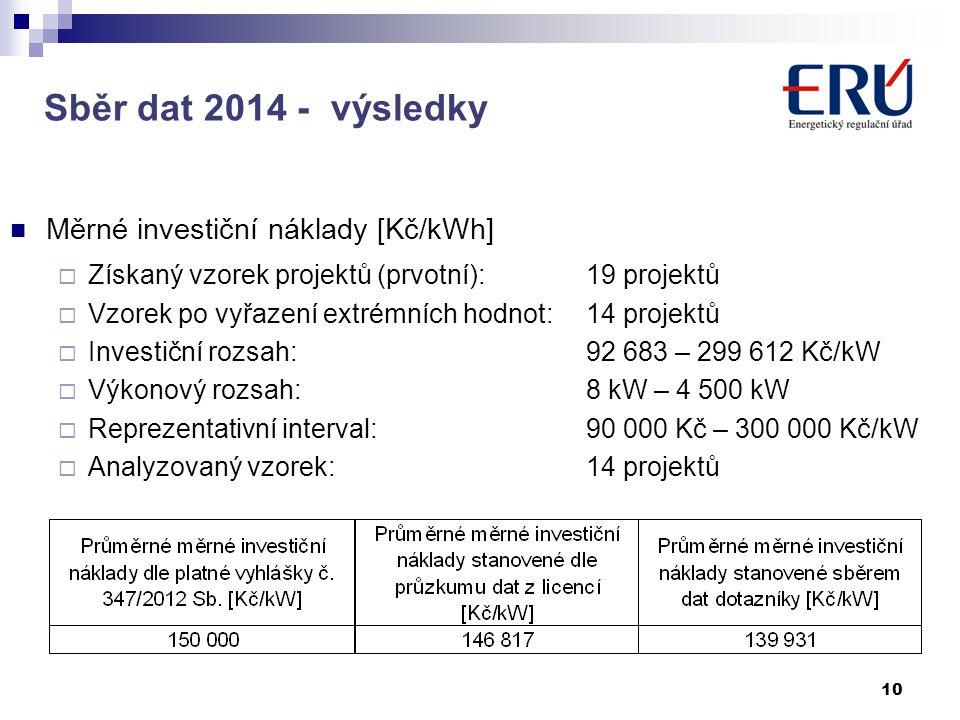 Sběr dat 2014 - výsledky Měrné investiční náklady [Kč/kWh]  Získaný vzorek projektů (prvotní):19 projektů  Vzorek po vyřazení extrémních hodnot:14 projektů  Investiční rozsah:92 683 – 299 612 Kč/kW  Výkonový rozsah:8 kW – 4 500 kW  Reprezentativní interval:90 000 Kč – 300 000 Kč/kW  Analyzovaný vzorek:14 projektů 10