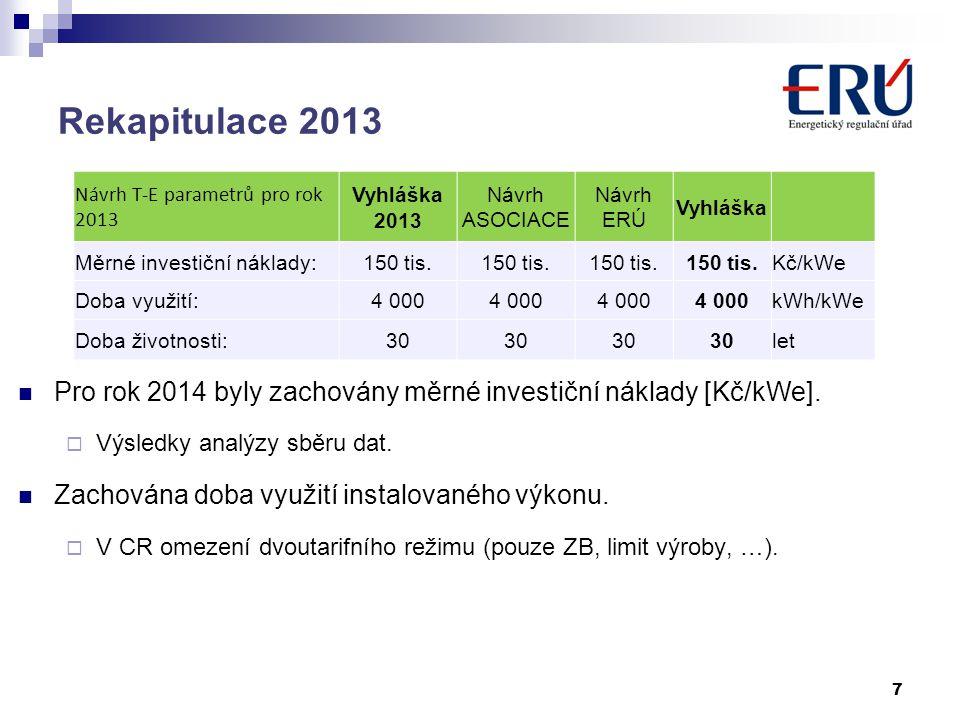 Rekapitulace 2013 7 Návrh T-E parametrů pro rok 2013 Vyhláška 2013 Návrh ASOCIACE Návrh ERÚ Vyhláška Měrné investiční náklady:150 tis.