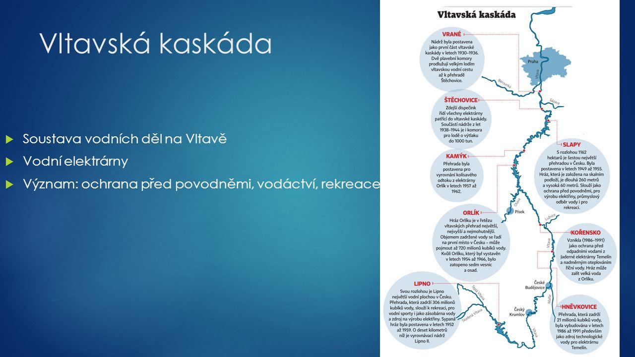 Vltavská kaskáda  Soustava vodních děl na Vltavě  Vodní elektrárny  Význam: ochrana před povodněmi, vodáctví, rekreace