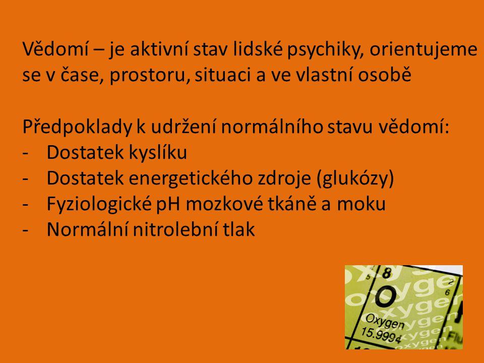 Vědomí – je aktivní stav lidské psychiky, orientujeme se v čase, prostoru, situaci a ve vlastní osobě Předpoklady k udržení normálního stavu vědomí: -Dostatek kyslíku -Dostatek energetického zdroje (glukózy) -Fyziologické pH mozkové tkáně a moku -Normální nitrolební tlak