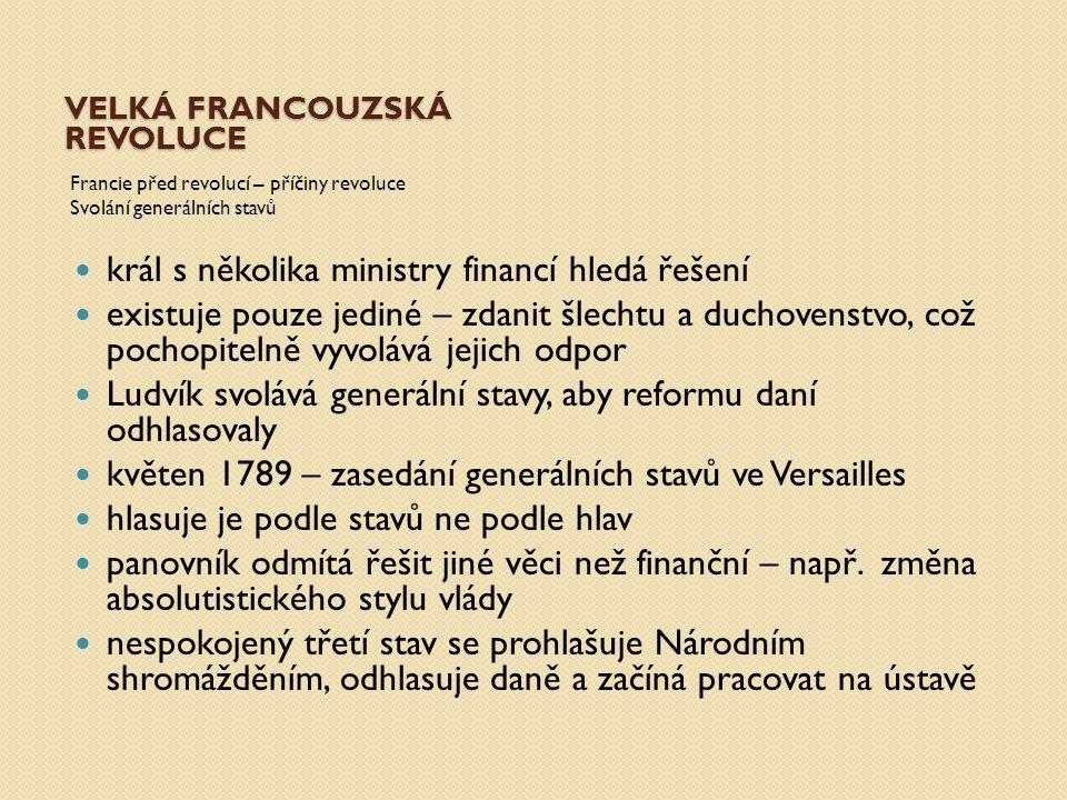VELKÁ FRANCOUZSKÁ REVOLUCE Francie před revolucí – příčiny revoluce Svolání generálních stavů král se obává sněmu a pokouší se ho rozpustit – neúspěšně Národní shromáždění se přejmenovává na Ústavodárné a zasedá až do září 1791, kde je hotova ústava a Francie se mění na konstituční monarchii 14.