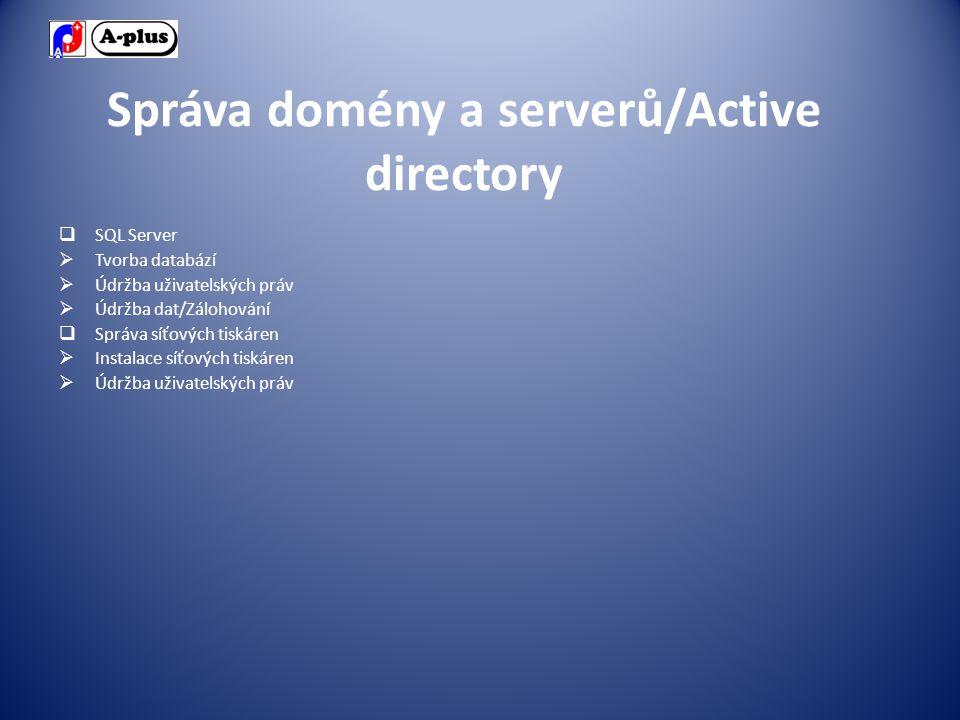 Správa domény a serverů/Active directory  SQL Server  Tvorba databází  Údržba uživatelských práv  Údržba dat/Zálohování  Správa síťových tiskáren  Instalace síťových tiskáren  Údržba uživatelských práv
