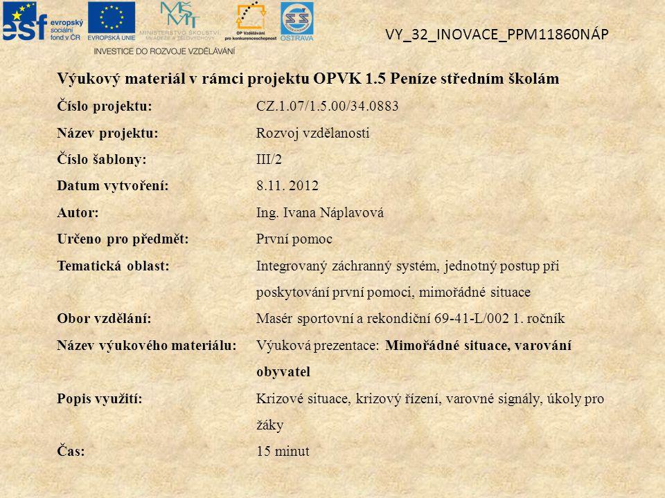 Výukový materiál v rámci projektu OPVK 1.5 Peníze středním školám Číslo projektu:CZ.1.07/1.5.00/34.0883 Název projektu:Rozvoj vzdělanosti Číslo šablon