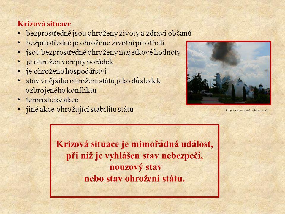 Krizová situace bezprostředně jsou ohroženy životy a zdraví občanů bezprostředně je ohroženo životní prostředí jsou bezprostředně ohroženy majetkové h