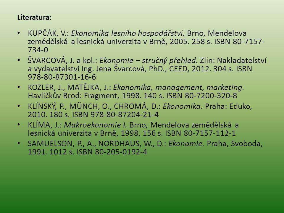 Literatura: KUPČÁK, V.: Ekonomika lesního hospodářství. Brno, Mendelova zemědělská a lesnická univerzita v Brně, 2005. 258 s. ISBN 80-7157- 734-0 ŠVAR