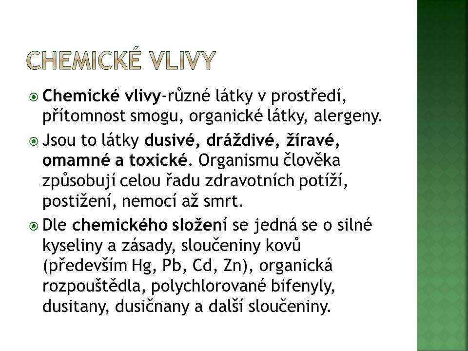  Chemické vlivy-různé látky v prostředí, přítomnost smogu, organické látky, alergeny.