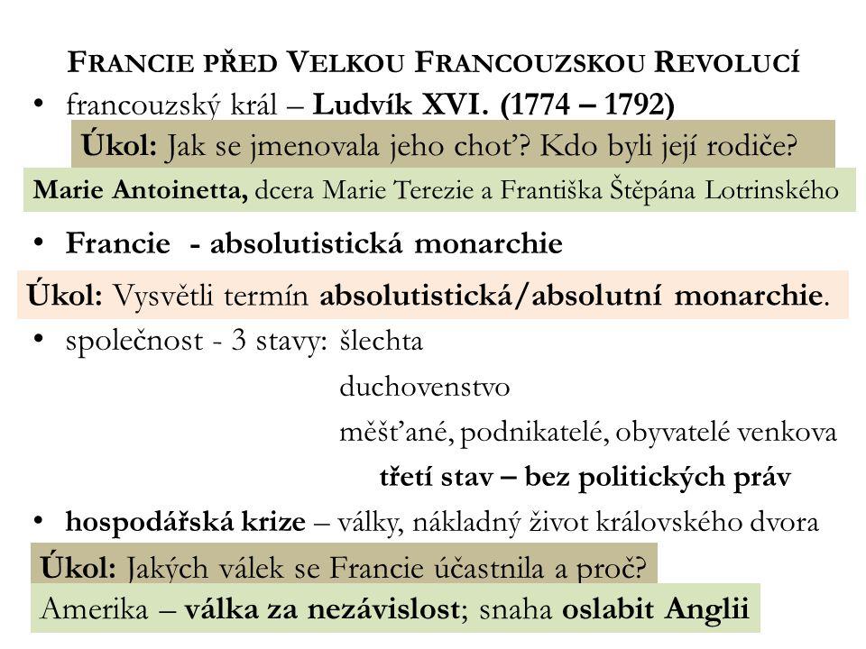 F RANCIE PŘED V ELKOU F RANCOUZSKOU R EVOLUCÍ francouzský král – Ludvík XVI.