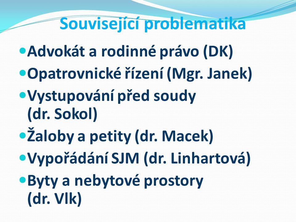 Související problematika Advokát a rodinné právo (DK) Opatrovnické řízení (Mgr. Janek) Vystupování před soudy (dr. Sokol) Žaloby a petity (dr. Macek)