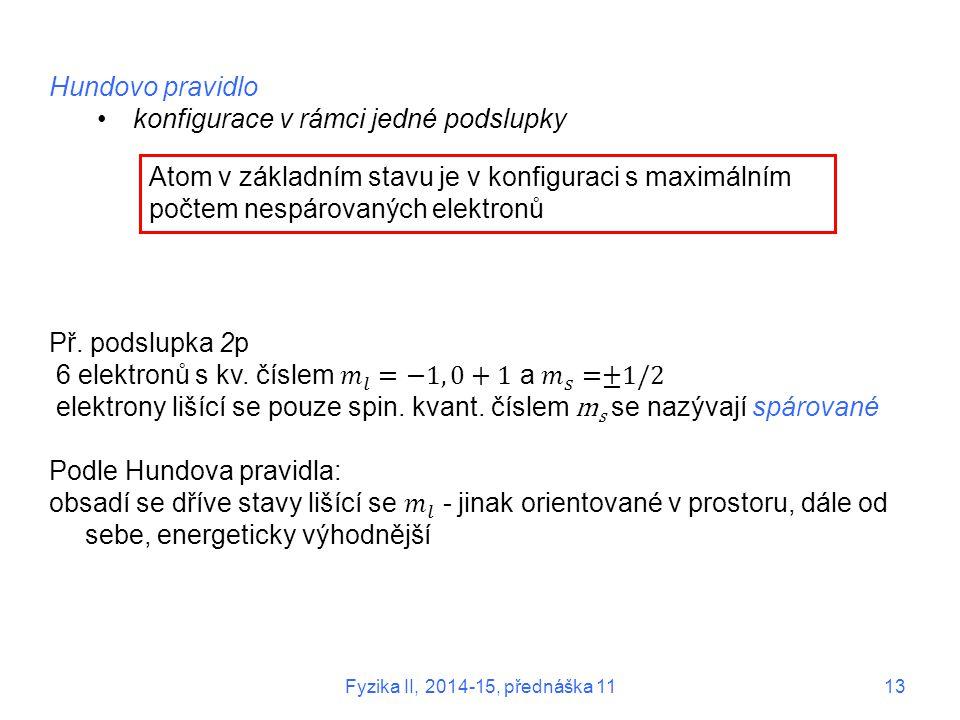 Atom v základním stavu je v konfiguraci s maximálním počtem nespárovaných elektronů Fyzika II, 2014-15, přednáška 1113