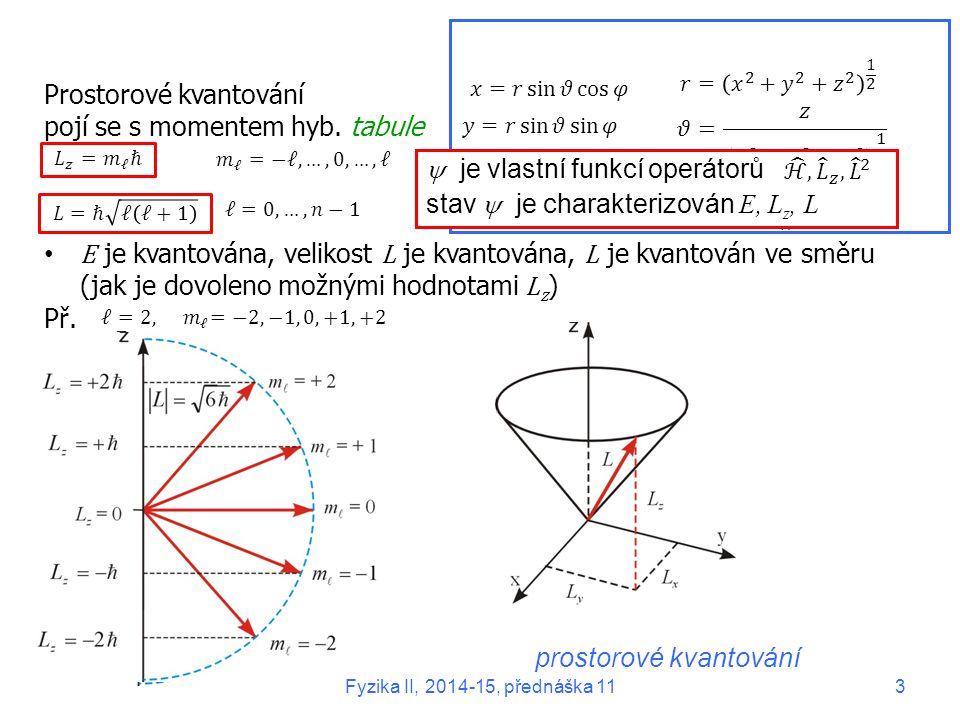 Prostorové kvantování pojí se s momentem hyb. tabule E je kvantována, velikost L je kvantována, L je kvantován ve směru (jak je dovoleno možnými hodno