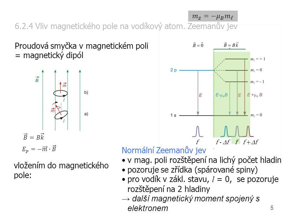 vložením do magnetického pole: 6.2.4 Vliv magnetického pole na vodíkový atom. Zeemanův jev Proudová smyčka v magnetickém poli = magnetický dipól Normá