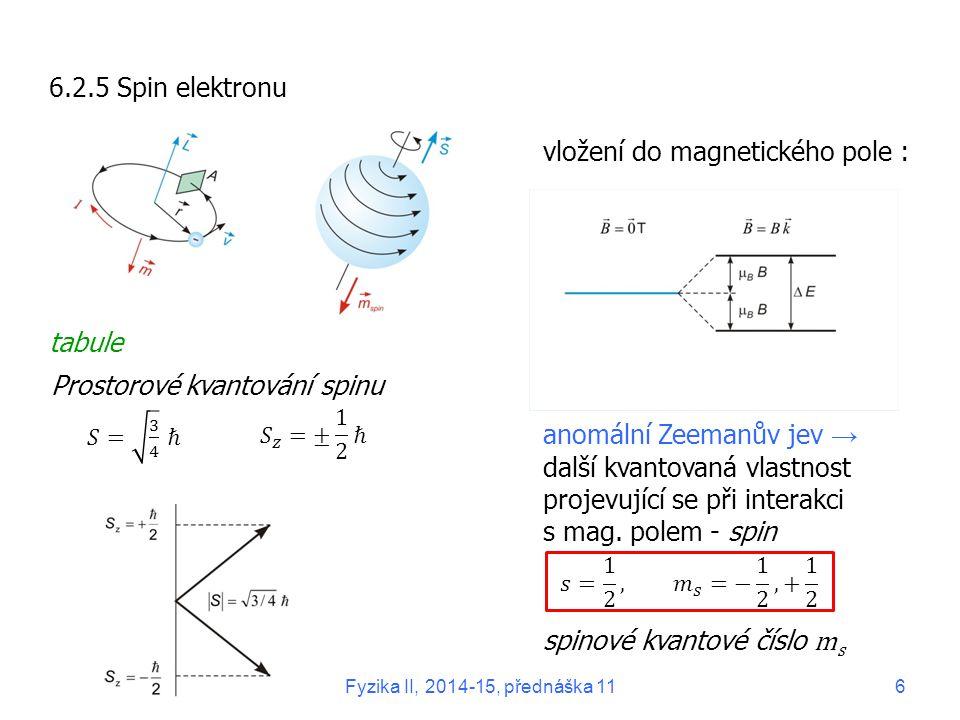 6.2.5 Spin elektronu tabule anomální Zeemanův jev → další kvantovaná vlastnost projevující se při interakci s mag. polem - spin Prostorové kvantování