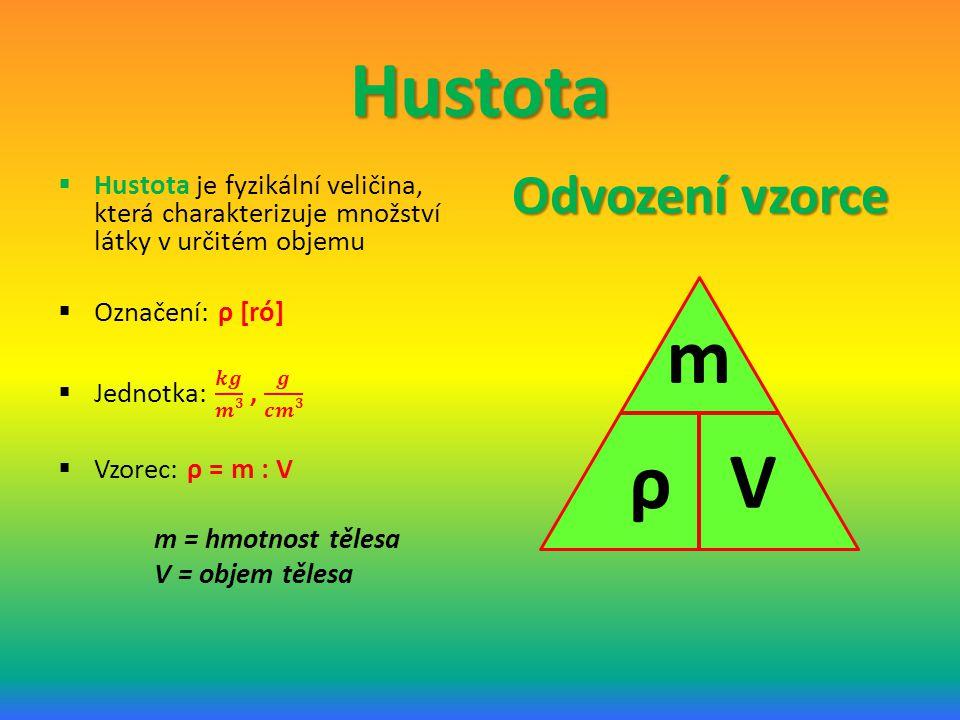 Hustota Odvození vzorce ρ V m