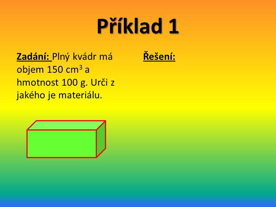 Příklad 1 Zadání: Plný kvádr má objem 150 cm 3 a hmotnost 100 g. Urči z jakého je materiálu. Řešení: