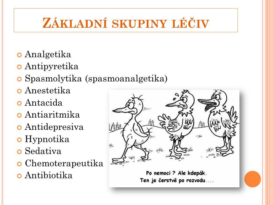 Z ÁKLADNÍ SKUPINY LÉČIV Analgetika Antipyretika Spasmolytika (spasmoanalgetika) Anestetika Antacida Antiaritmika Antidepresiva Hypnotika Sedativa Chemoterapeutika Antibiotika