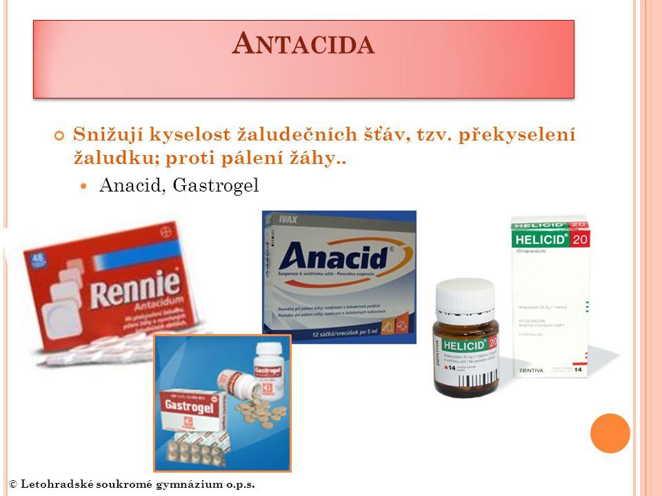 A NTACIDA Snižují kyselost žaludečních šťáv, tzv.překyselení žaludku; proti pálení žáhy..