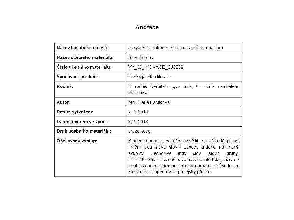 Anotace Název tematické oblasti: Jazyk, komunikace a sloh pro vyšší gymnázium Název učebního materiálu: Slovní druhy Číslo učebního materiálu: VY_32_I
