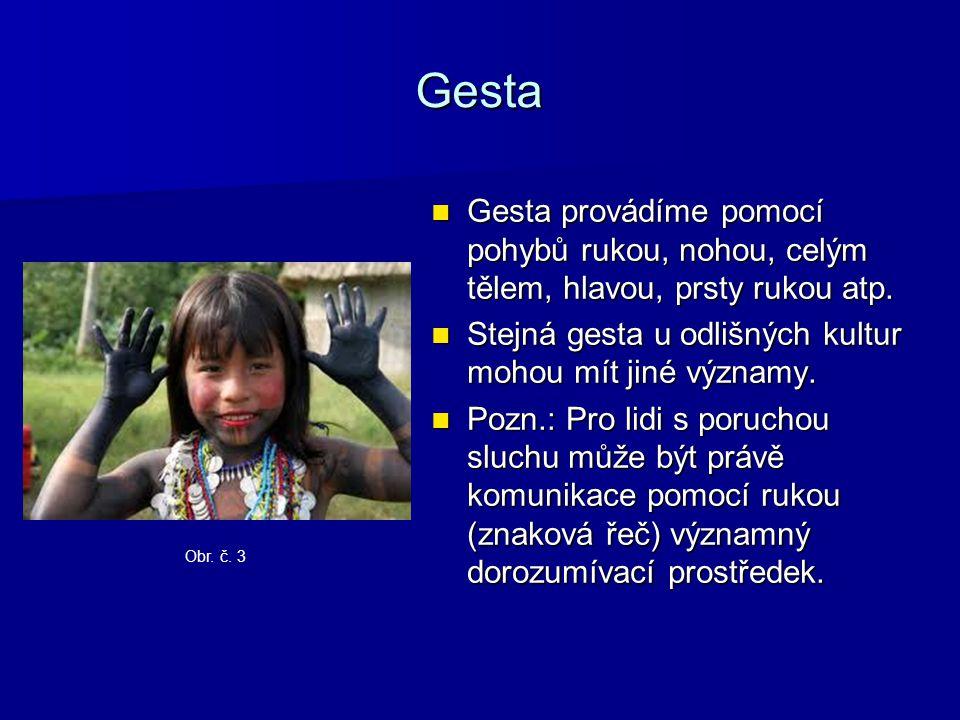 Gesta Gesta provádíme pomocí pohybů rukou, nohou, celým tělem, hlavou, prsty rukou atp.