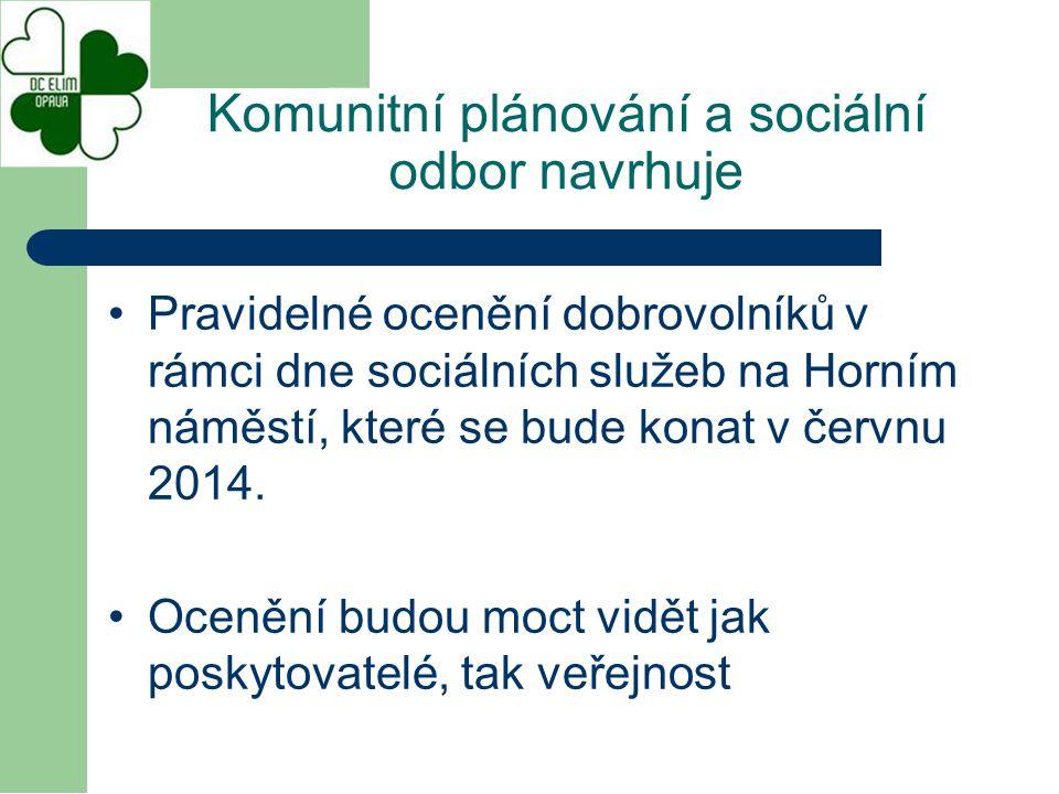 Pravidelné ocenění dobrovolníků v rámci dne sociálních služeb na Horním náměstí, které se bude konat v červnu 2014. Ocenění budou moct vidět jak posky