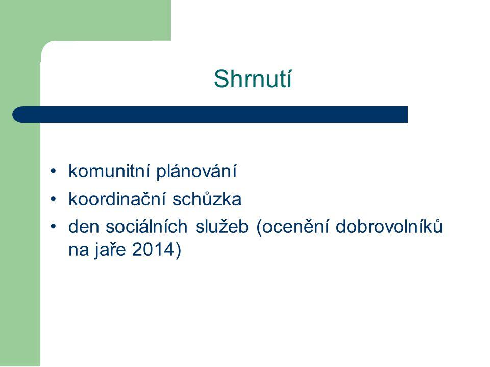 komunitní plánování koordinační schůzka den sociálních služeb (ocenění dobrovolníků na jaře 2014) Shrnutí