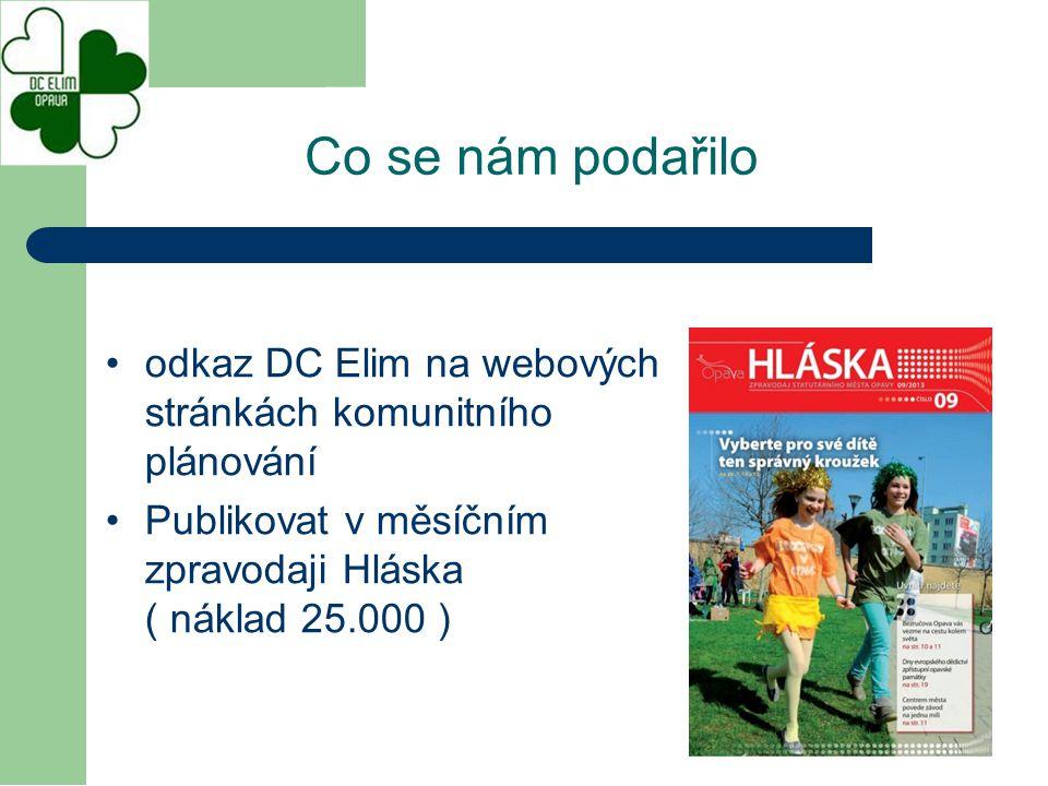odkaz DC Elim na webových stránkách komunitního plánování Publikovat v měsíčním zpravodaji Hláska ( náklad 25.000 ) Co se nám podařilo