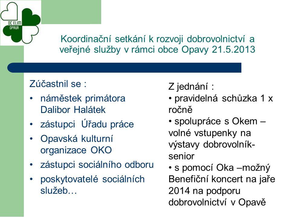 Zúčastnil se : náměstek primátora Dalibor Halátek zástupci Úřadu práce Opavská kulturní organizace OKO zástupci sociálního odboru poskytovatelé sociál