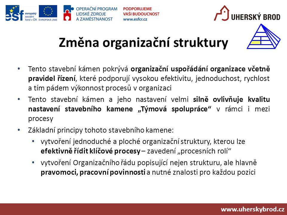 Změna organizační struktury Tento stavební kámen pokrývá organizační uspořádání organizace včetně pravidel řízení, které podporují vysokou efektivitu,
