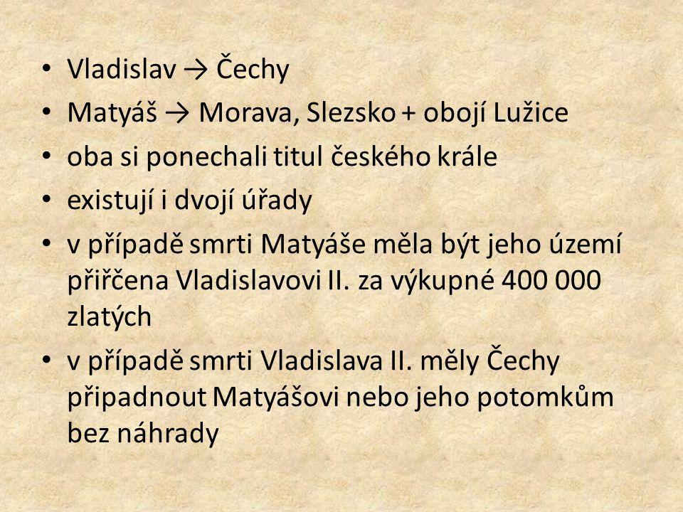 Vladislav → Čechy Matyáš → Morava, Slezsko + obojí Lužice oba si ponechali titul českého krále existují i dvojí úřady v případě smrti Matyáše měla být jeho území přiřčena Vladislavovi II.