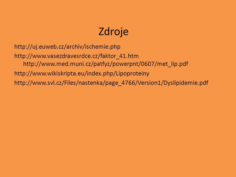 Zdroje http://uj.euweb.cz/archiv/ischemie.php http://www.vasezdravesrdce.cz/faktor_41.htm http://www.med.muni.cz/patfyz/powerpnt/0607/met_lip.pdf http://www.wikiskripta.eu/index.php/Lipoproteiny http://www.svl.cz/Files/nastenka/page_4766/Version1/Dyslipidemie.pdf