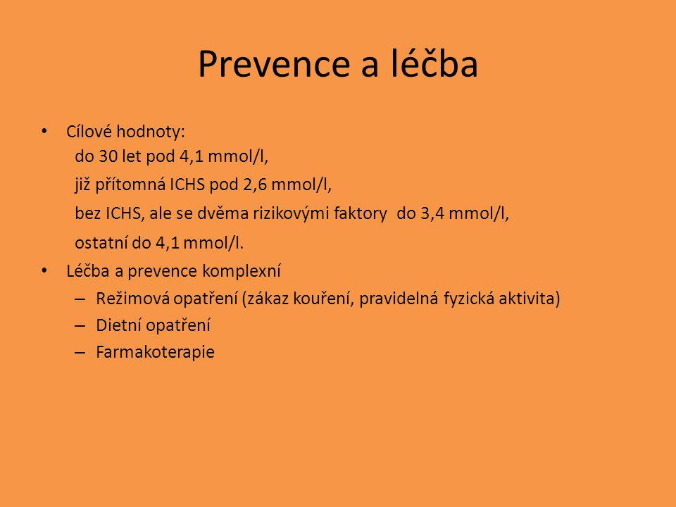 Prevence a léčba Cílové hodnoty: do 30 let pod 4,1 mmol/l, již přítomná ICHS pod 2,6 mmol/l, bez ICHS, ale se dvěma rizikovými faktory do 3,4 mmol/l, ostatní do 4,1 mmol/l.