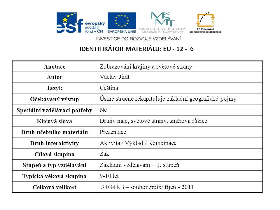 IDENTIFIKÁTOR MATERIÁLU: EU - 12 - 6 AnotaceZobrazování krajiny a světové strany Autor Václav Jirát Jazyk Čeština Očekávaný výstup Ústně stručně rekap