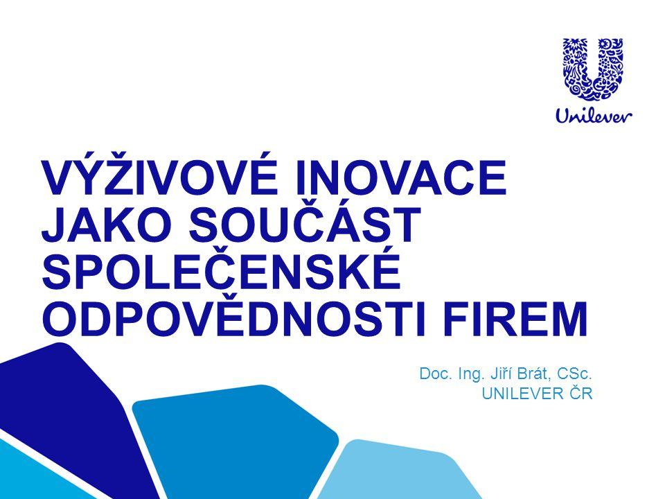 VÝŽIVOVÉ INOVACE JAKO SOUČÁST SPOLEČENSKÉ ODPOVĚDNOSTI FIREM Doc. Ing. Jiří Brát, CSc. UNILEVER ČR
