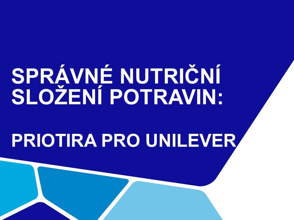 SPRÁVNÉ NUTRIČNÍ SLOŽENÍ POTRAVIN: PRIOTIRA PRO UNILEVER