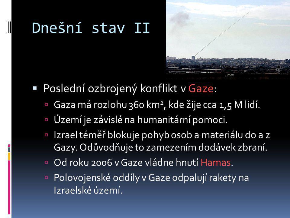 Dnešní stav II  Poslední ozbrojený konflikt v Gaze:  Gaza má rozlohu 360 km 2, kde žije cca 1,5 M lidí.  Území je závislé na humanitární pomoci. 