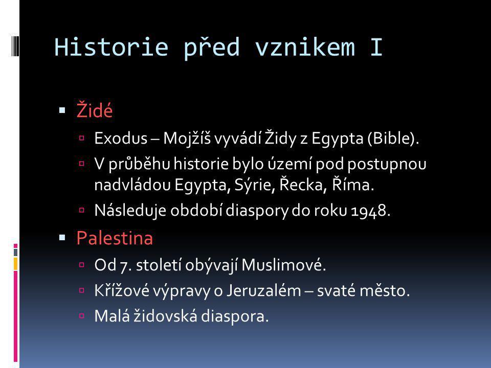 Historie před vznikem I  Židé  Exodus – Mojžíš vyvádí Židy z Egypta (Bible).  V průběhu historie bylo území pod postupnou nadvládou Egypta, Sýrie,