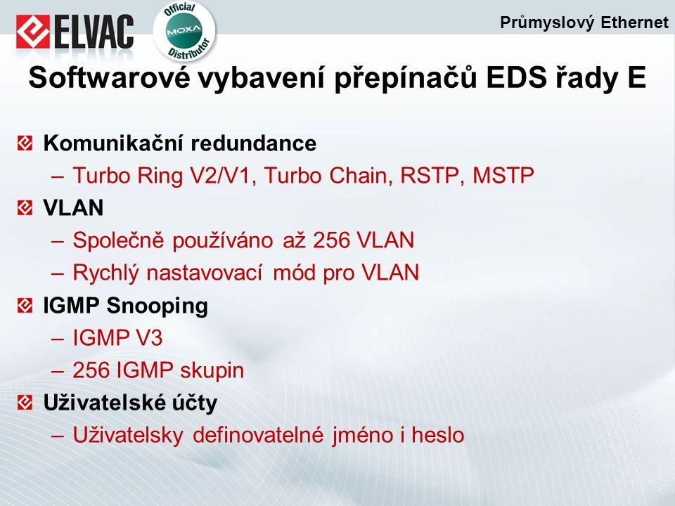Komunikační redundance –Turbo Ring V2/V1, Turbo Chain, RSTP, MSTP VLAN –Společně používáno až 256 VLAN –Rychlý nastavovací mód pro VLAN IGMP Snooping
