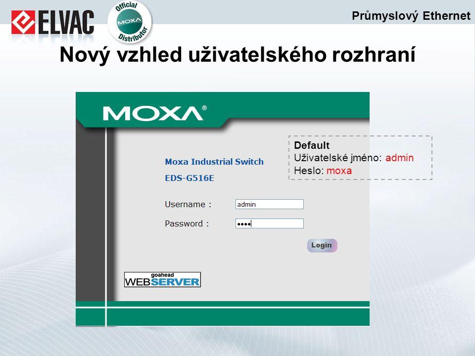 Průmyslový Ethernet Nový vzhled uživatelského rozhraní Default Uživatelské jméno: admin Heslo: moxa
