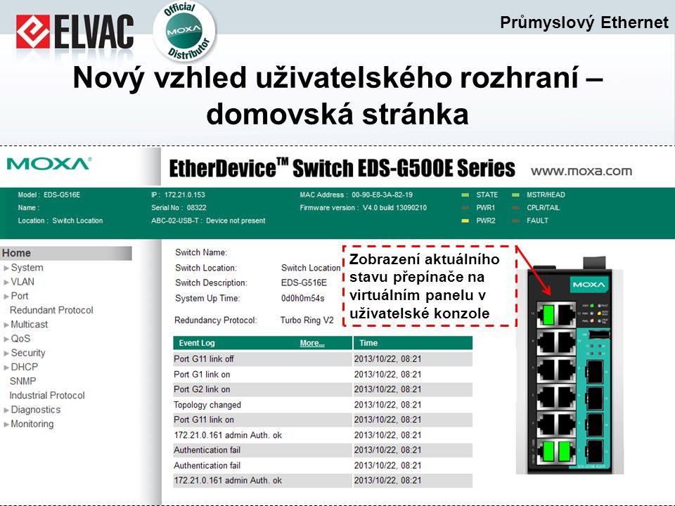 Průmyslový Ethernet Nový vzhled uživatelského rozhraní – domovská stránka Zobrazení aktuálního stavu přepínače na virtuálním panelu v uživatelské konz