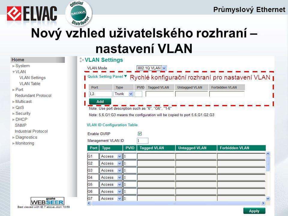 Průmyslový Ethernet Nový vzhled uživatelského rozhraní – nastavení VLAN Rychlé konfigurační rozhraní pro nastavení VLAN