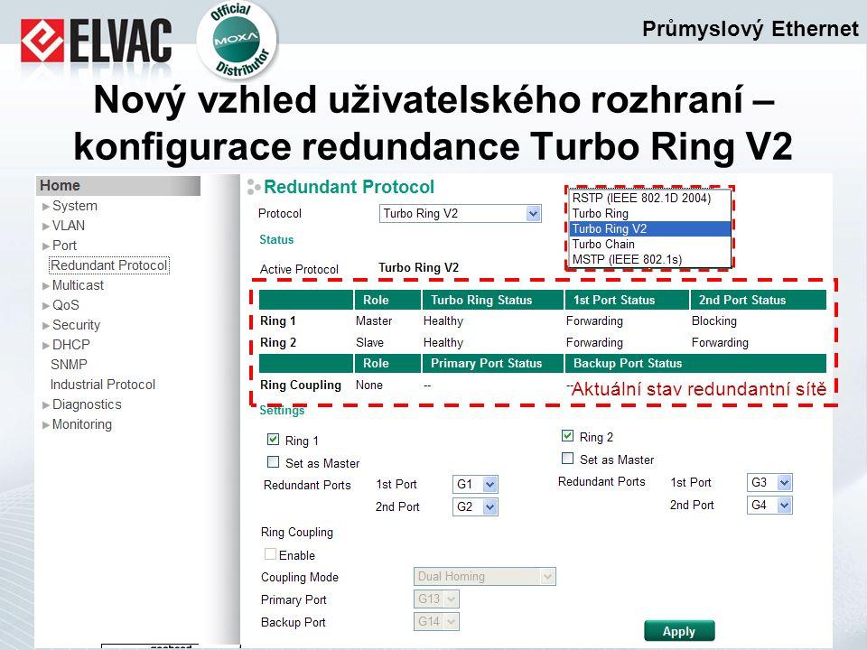 Průmyslový Ethernet Nový vzhled uživatelského rozhraní – konfigurace redundance Turbo Ring V2 Aktuální stav redundantní sítě