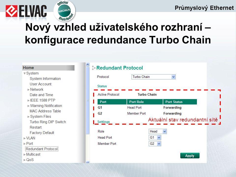 Průmyslový Ethernet Nový vzhled uživatelského rozhraní – konfigurace redundance Turbo Chain Aktuální stav redundantní sítě