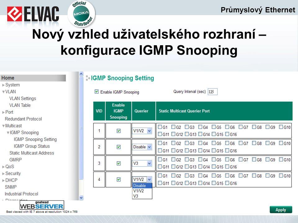 Průmyslový Ethernet Nový vzhled uživatelského rozhraní – konfigurace IGMP Snooping
